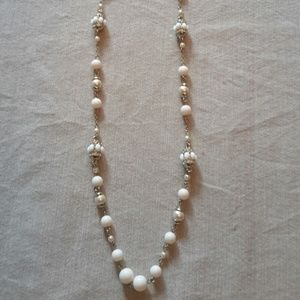 Ann Taylor Loft  White and Gold Necklace